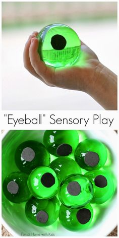 "So, so cool. Homemade Halloween ""Eyeball"" Sensory Bin from Fun at Home with Kids."