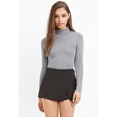 Forever 21 Asymmetrical Slit-Front Skort ($18) via Polyvore featuring forever 21, golf skirts and asymmetrical skort