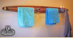 GadgetSponge.com - Repurposing, Upcycling, Birds & Nature - Repurposed Vintage Water Ski as a Towel & Robe Rack for theBathroom
