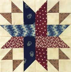 "Block #1 - Pattern is Woven Union by Yellow Creek Quilt Designs. This block's designers were Jill Shallow & Vicki Olsen. Unfinished  block is 9 1/2"". We've used a collection of Civil War reproduction and primitive fabrics."
