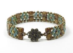 SUPERDUO CZECHMATE TILE Bracelet - Turquoise Picasso SuperDuos - Ivory Picasso Tiles - Toho Seed Beads - Flower Box Clasp  (SD099)