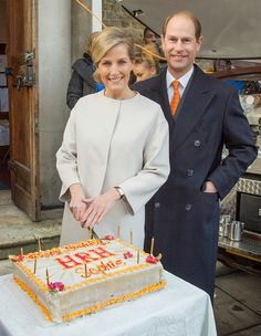 Sophie, Countess of Wessex and Prince Edward, Earl of Wessex pose with the Countess' birthday cake made by a person formerly helped by Tomorrow's People, and who now works in a bakery, during a visit to the Tomorrow's People Social Enterprises at St Anselm's Church on her 50th birthday on 20.01.2015 in London, England