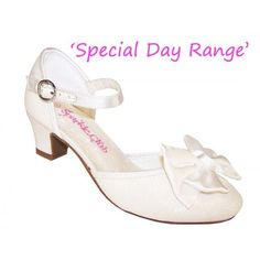 Girls ivory sparkly heeled shoes