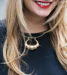 Oversize Croissant Necklace at The Stripe Store | Lookave - #ootd #onlineshopping #lookave #onlineshopping #streetstyle #style #fashion #outfit #theStripe #Oversized #jewelry #necklace #oversizenecklace