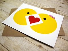 Pacman I Love You greeting Card -- Mr. and Mrs. Pacman. $3.85, via Etsy.