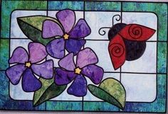Ladybug's Garden Stained Glass Bear Paw Productions Quilt Pattern  This pattern utilizes a streamlined stained glass technique using  fusible bias tape and fabric glue. The project is quilted as the  leading is machine stitched.
