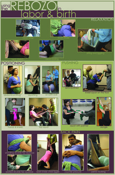Cool poster showing Rebozo techniques. This is another reason to have a doula, someone experienced who can help you with positioning and comfort in labor.