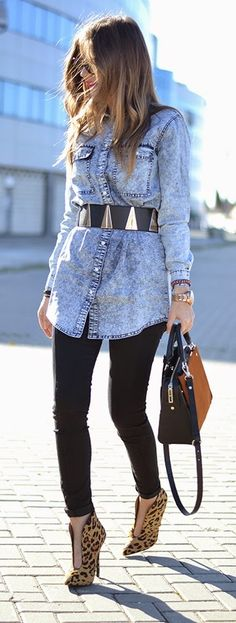 Classic Denim with Belt and Lepord Booties | Street chic