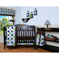Blue Brown Diamond 13-piece Crib Bedding Set | Overstock.com