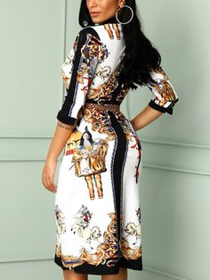 Shop Scarf Print Self Belted Casual Dress right now, get great deals at Chiquedoll Bodycon Dress With Sleeves, Belted Dress, Scarf Dress, Vestido Casual, Womens Fashion Online, Mode Style, Pattern Fashion, Dress To Impress, Fashion Outfits