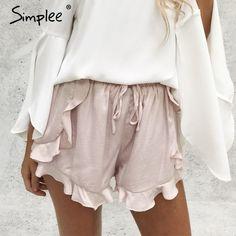 Simplee Ruffles shorts de cintura alta mulheres Sexy com cordão calções de praia do verão Solta cintura elástica bermuda streetwear