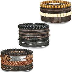 BESTEEL 8-12PCS Bracelet Cuir pour Homme Femme Unisexe Perles en Bois Corde Tress/é Bracelet Elastique