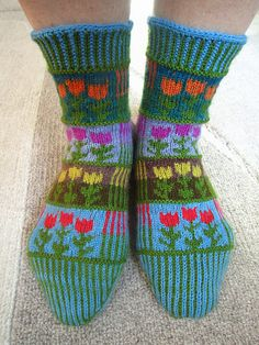 Ravelry: Stripes & Tulips socks or knee-highs pattern by Dela Hausmann