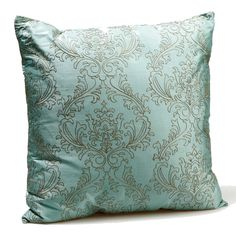 (Throw cushion for lounge)These beautiful silk cushions are in aqua blue with a gold embroidered pattern. 100% silk.
