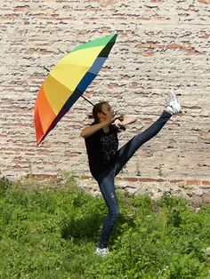 Rainbow Umbrella Girl (Animated GIF) by Feuerlocke.deviantart.com on @DeviantArt