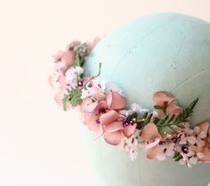 Flower crown, vintage millinery floral headpiece, Bridal hair band, Wedding accessory - CLOVER. $85,00, via Etsy.
