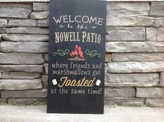 Large Welcome To The Patio Custom Sign Bonfire Campfire