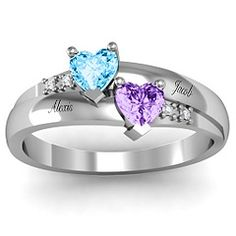 Double Heart Gemstone Ring with Accents #jewlr