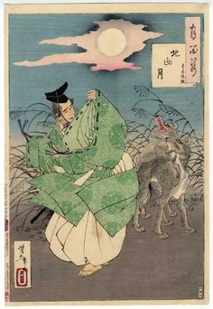 """# 32 """"Kitiyama Moon""""  --  Yoshitoshi's """"100 Aspects of the Moon.""""  Toyohara Sumiaki, court musician of Emperor Go-Kashiwabara, is accosted by wolves who can only be pacified by his flute playing."""