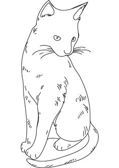 cat color pages printable | cat coloring picture for free