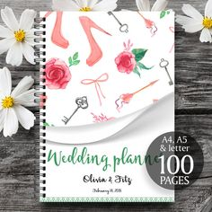 Printable wedding planner with personalised cover page, Digital wedding planner, Wedding printable planner #affiliate