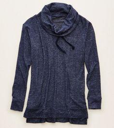 Navy Aerie Cowl Neck Sweatshirt
