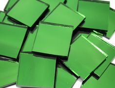 Emerald Ice Waterglass Mirror Mosaic Tiles.  Mosaic Tile Mania has the world's largest selection of hand cut, stained glass mosaic tiles & mosaic supplies.