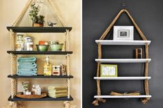 40 Interesting Things You Can DIY With Rope. Check out these shelves @Ann Flanigan Flanigan Powell