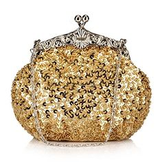 Chicastic Fully Sequined Mesh Beaded Antique Style Wedding Evening Formal Cocktail Clutch Purse - Gold