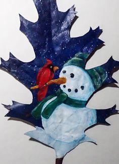 Deliberately Creative: Painting on Leaves Winter Painting, Painting On Leaves, Painting Pots, Painted Leaves, Painted Rocks, Dry Leaf Art, Nature Paintings, Leaf Paintings, Leave Art