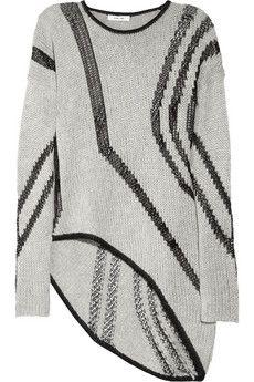 Helmut Lang  Net-paneled loose-knit sweater