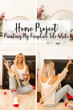 Home Project: Painting My Fireplace Tile White - Blush & Camo