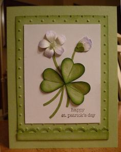 handmade St. Patrick's Day Card ... original version of the Shamrock card ... good photo tutorial ... uses the wing of the two-step bird to create the heart clover leaves ... Stampin' Up!