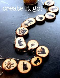 DIY Nativity Projects - Sugar Bee Crafts -- The wood rounds could be small, light, and spaced out farther, and it could be strung on the tree! Diy Christmas Garland, Christmas Nativity, Christmas Love, Homemade Christmas, Rustic Christmas, Winter Christmas, Christmas Decorations, Christmas Bells, Xmas