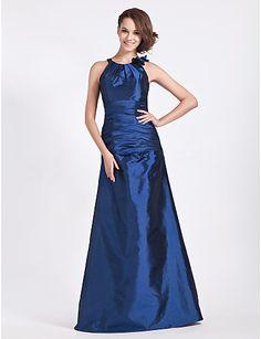 A-line Jewel Neck Floor-length Taffeta Bridesmaid Dress - USD $ 129.99