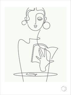 café series : book (blackline) — that girl in black - café series : book (blackline) — that girl in black - Minimalist Drawing, Minimalist Art, Face Line Drawing, Abstract Face Art, Outline Art, Art Drawings Sketches, Doodle Art, Pop Art, Illustration Art