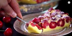 Have you guys ever heard of clafoutis before? This French dessert is similar to a custard or flan, easy to make, and typically made with cherries, making it the perfect dessert for pick-your-own berry season! Home Cooking Adventure shows us how to make. Cheesecake Desserts, Cookie Desserts, Just Desserts, Dessert Recipes, Cherry Clafoutis, Biscuits, Healthy Cake, Healthy Food, Sweet Tarts