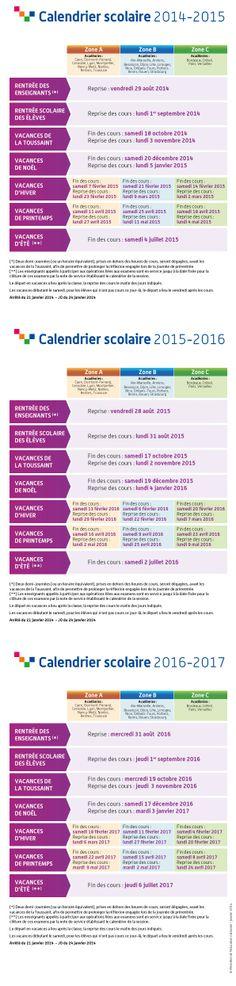 Calendrier scolaire 2014-2017, à retrouver en version interactive sur http://www.education.gouv.fr/pid25058/le-calendrier-scolaire.html