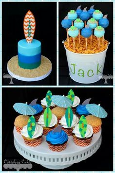 """The """"big one"""" themed first birthday party cake, cupcakes and cake pops with surf… Luau Birthday, First Birthday Cakes, 1st Boy Birthday, Boy Birthday Parties, Birthday Ideas, Bolos Pool Party, Luau Party, Luau Theme, Beach Party"""
