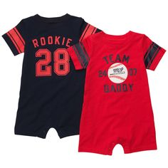 This sporty romper set has 2 easy 1-piece outfits that are perfect for playtime.