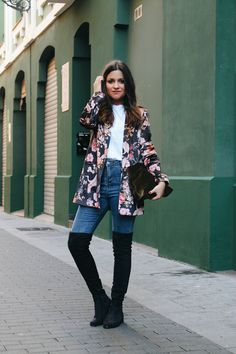 Velvet blazer, jeans and over the knee boots #outfit
