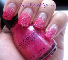 Pink gradient sparkle nails