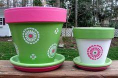 Painted Flower Pot Set, Hot Pink. $34.00, via Etsy.