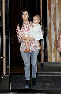 Kourtney Kardashian in J BRAND's 8226 Photo Ready Cropped Skinny in Chrome Mercy.
