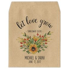 Let Love Grow Sunflower Seed Packets - Minikin - Personalized Seed Packet Favors Thank You Messages, Thank You Gifts, Back Message, Seed Packaging, Tree Seeds, Custom Fonts, Seed Packets, Sunflower Seeds, Tree Designs