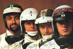 the Matra boys 1969 Matra factory riders, Henri Pescarolo, Johnny Servoz-Gavin, Jean-Pierre Beltoise Jackie Stewart Jackie Stewart, Sport F1, Sport Cars, Le Mans, Grand Prix, Casque Bell, Alpine Renault, Jochen Rindt, Matra