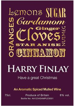 personalised mulled wine by the letteroom   notonthehighstreet.com
