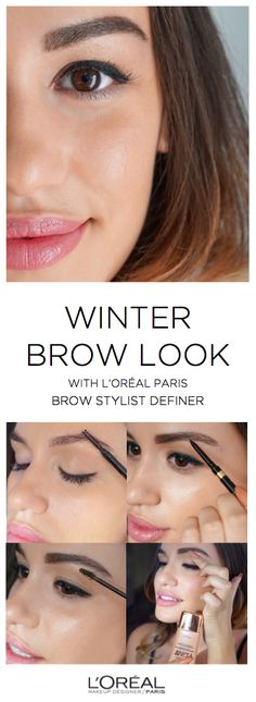 Gorgeous, natural brow makeup look for winter. 1. Brush out brows with brush end of Brow Stylist Definer. 2. Using the pencil side, draw the outline of your brow shape and fill in the gap with light, feathered strokes. 3. Set with Brow Stylist Plumper gel. 4. Apply Lumi liquid highlighter underneath and directly above brows.