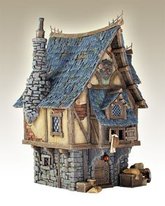 SOLAR - Fairy Garden-Cottage Crooked Creations Solar Home-Houses-Echo Valley-MyFairyGardens ~ so cute! Clay Houses, Miniature Houses, Medieval Houses, Wargaming Terrain, Fantasy House, Fairy Garden Houses, Environment Design, Medieval Fantasy, Little Houses