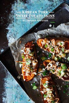 Healthy + Gluten-Free Korean Pork Sweet Potato Skins with Kimchi and Guilt-Free Gochujang Aioli | sharedappetite.com